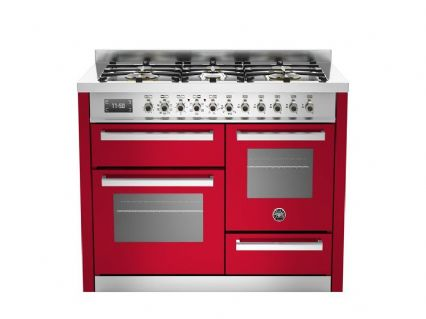 Beratzzoni 110 cm RED 6 burner electric triple oven Professional Series PRO110-6-MFE-T-RO-T